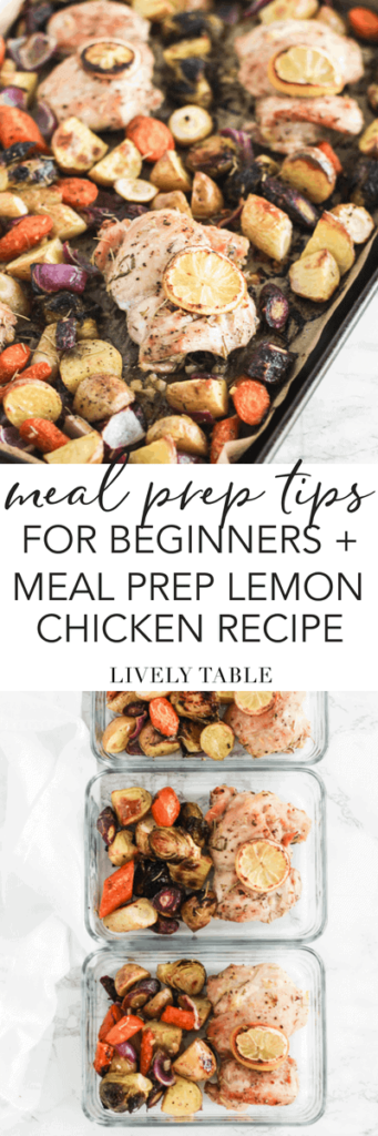 Simple meal prep tips for beginners, plus a recipe for meal prep sheet pan lemon chicken with carrots and potatoes. (#glutenfree, #dairyfree, #nutfree, #mealprep) #chicken #recipe #tips #mealplanning #healthy