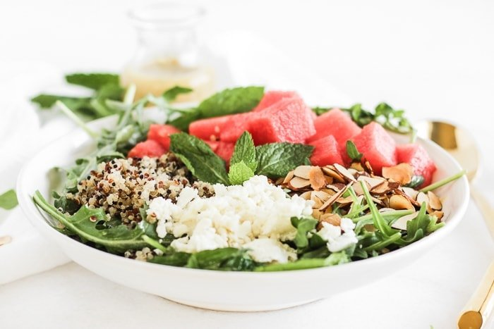 Watermelon Feta and Arugula Grain Salad