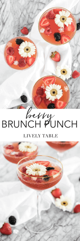 This berry brunch punch made with berries and sparkling wine is an easy, pretty pitcher cocktail that's perfect to serve at brunch for a crowd! #brunch #punch #cocktails #easy #champagne #berries #recipe #pitchercocktail
