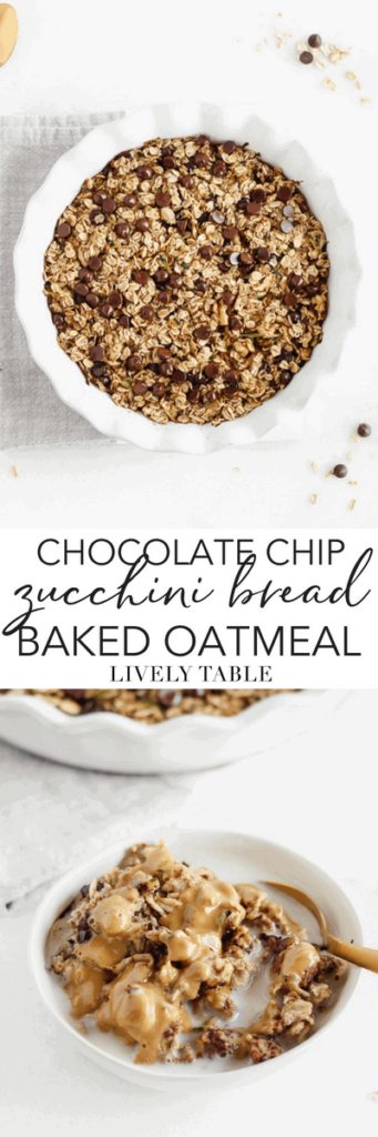 Chocolate Chip Zucchini Bread Baked Oatmeal is a delicious make-ahead breakfast that helps you get a serving of veggies into your morning meal. Prep it this weekend for a week's worth of healthy breakfasts! (#glutenfree, #vegetarian, #dairyfree, #vegan option) #zucchinibread #bakedoatmeal #breakfast #healthy #makeahead #mealprep #recipe