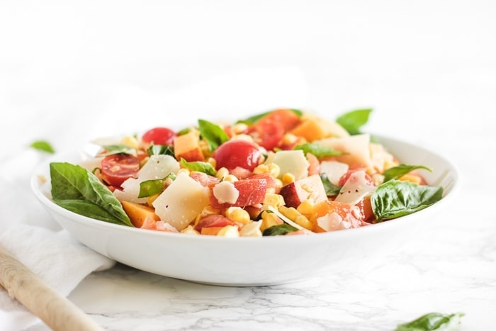 Corn, Peach and Tomato Basil Salad
