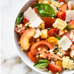 corn peach and tomato basil salad