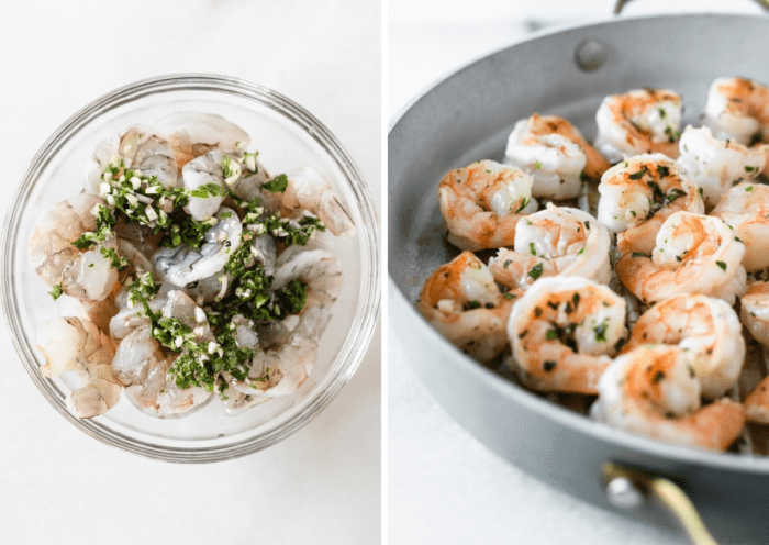side by side images of raw shrimp in a bowl with herb vinaigrette marinade and shrimp being grilled in a grill pan.