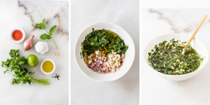 three image collage showing steps for making shallot herb vinaigrette.