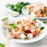 grilled shrimp and mango melon salad
