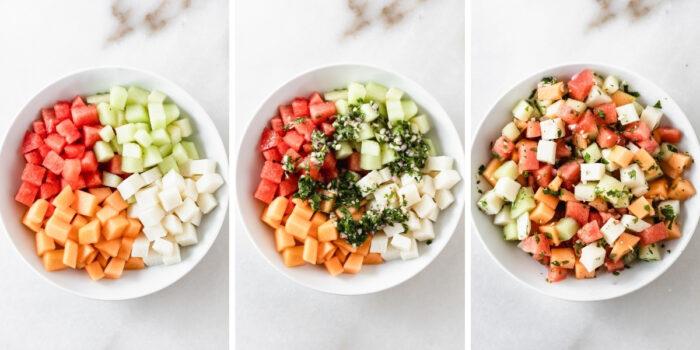 three image collage showing steps for making jicama melon salad with herb vinaigrette.