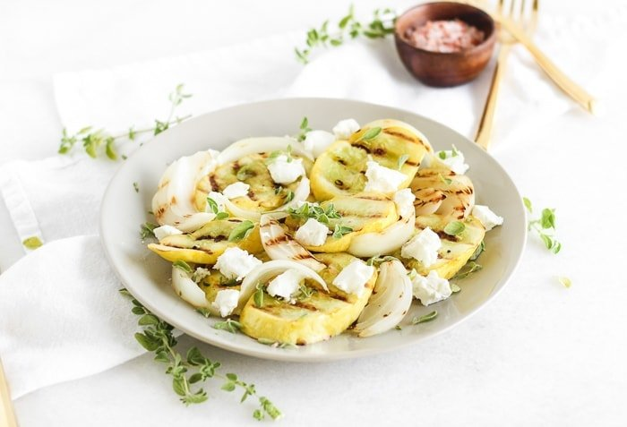 Grilled Squash with Goat Cheese and Oregano