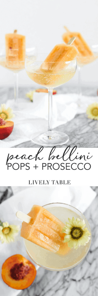Peach bellini popsicles with prosecco are the most refreshing way to use your summer peaches! Try these delicious, easy-to-make poptails this weekend for a fun adult treat! (#mocktail option included) #peaches #bellini #poptail #popsicle #chmpagne #sparklingwine #summer #recipes