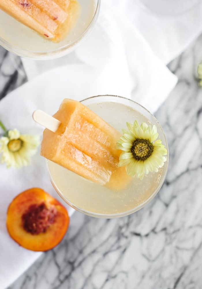 peach bellini pops with prosecco