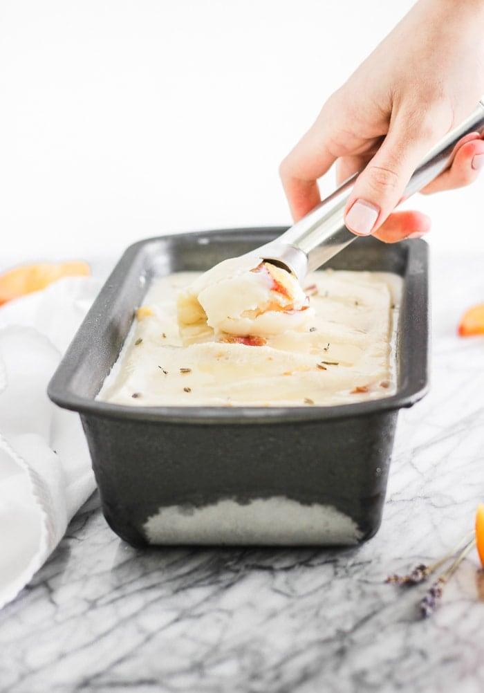 honey lavender peach ice cream