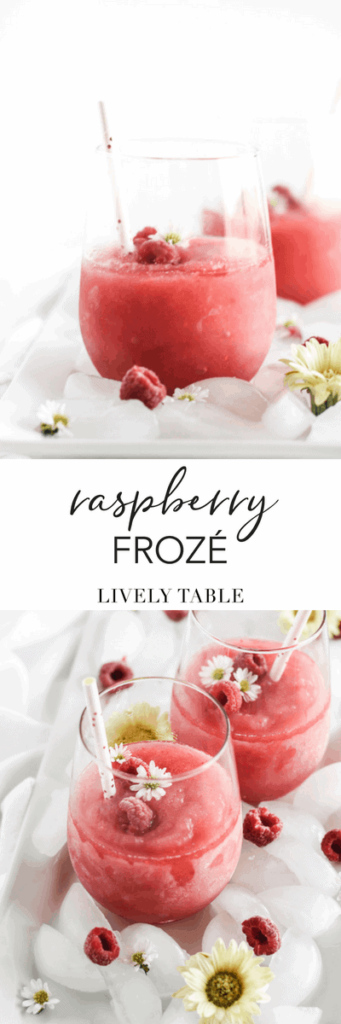 Raspberry frozé is the only cocktail you need for summer. It's an easy 2-ingredient drink that's so refreshing to sip by the pool, at cookouts, or a random Tuesday evening on the porch! #rosé #cocktails #raspberry #summer #recipes