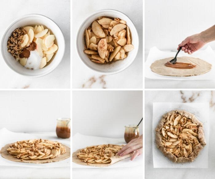 six image collage showing steps for making walnut caramel apple galette.