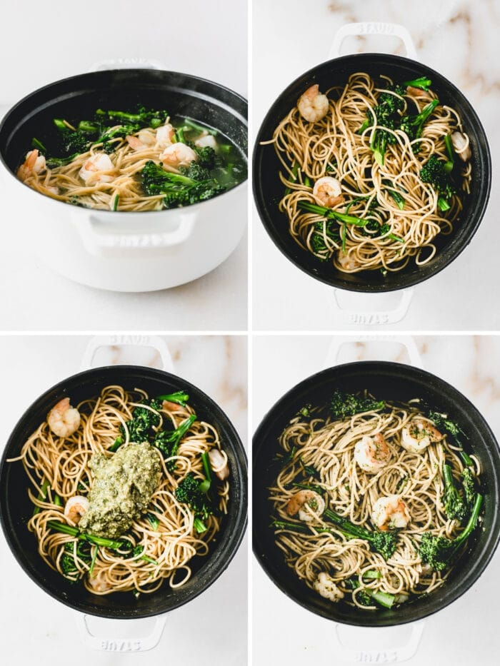 4 image collage showing steps for making easy pesto pasta with shrimp and broccoli.