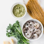 easy broccoli pesto pasta almondine
