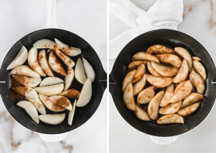 collage showing cinnamon sautéed pears before and after cooking in a white cast iron skillet.