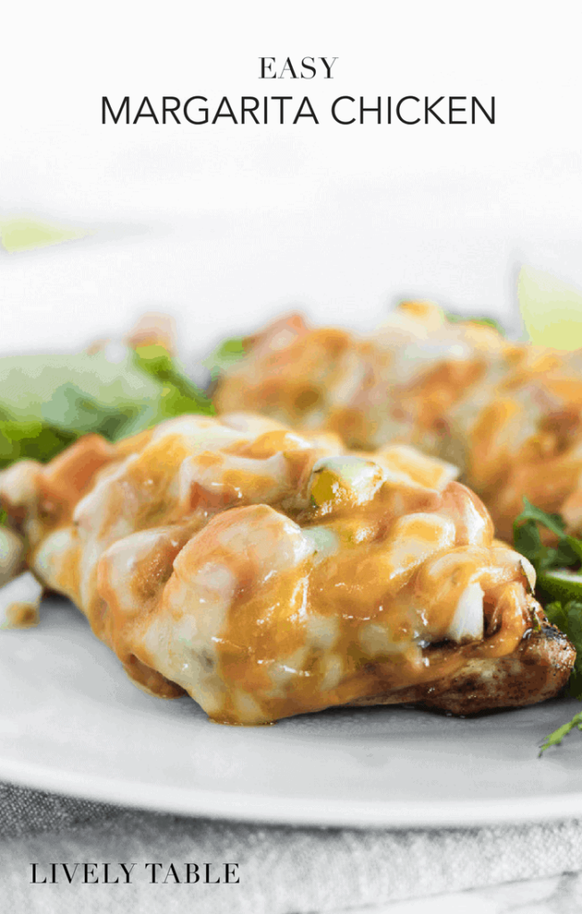 Easy margarita chicken is a healthy and delicious weeknight chicken dinner for your busiest nights. Juicy, flavorful chicken breast topped with pico de gallo and cheese - it's a delicious southwest-inspired meal the whole family will love! (#glutenfree, #nutfree) #chicken #dinner #recipes #easy #grilled #texmex #southwest #healthy