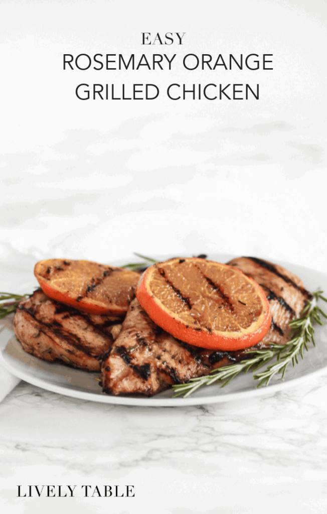 Easy rosemary orange grilled chicken is a simple, healthy, and flavorful solution for weeknight dinners. You're only 8 ingredients away from having a healthy chicken dinner on the table! (#glutenfree, #nutfree, #dairyfree) #dinner #chicken #healthy #maindish #healthy #easy #rosemary