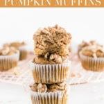Pinterest image for gluten free maple walnut pumpkin blender muffins.