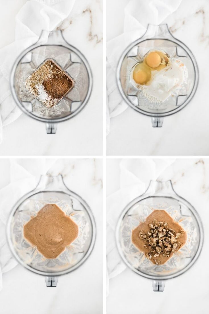 4 images of overhead views of a blender with ingredients to make pumpkin muffins: one with dry ingredients, one with wet ingredients, one with blended batter, and one with the batter with walnuts on top.