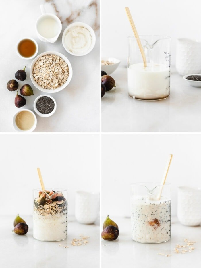 four image collage showing steps for making maple tahini fig overnight oats.