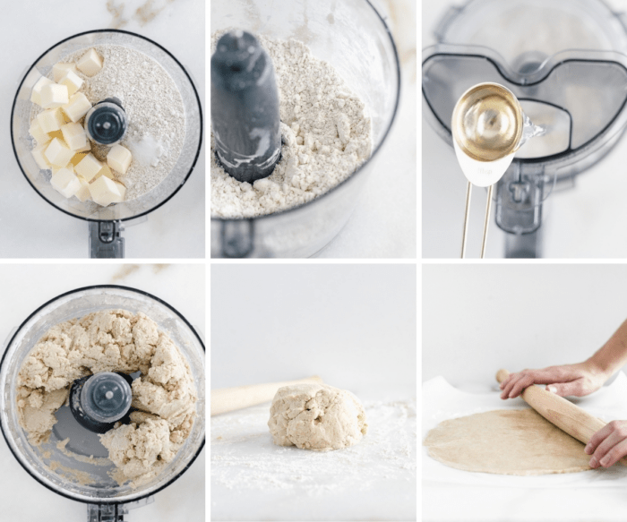 six image collage showing steps for making whole wheat galette crust.