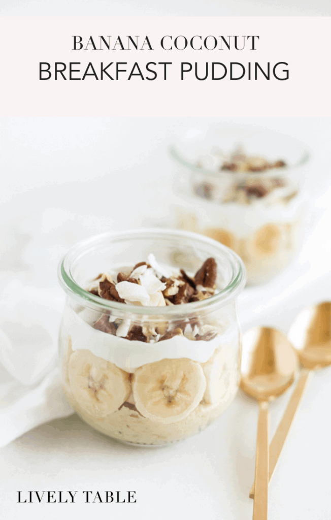 Start your day on a healthy note with this easy Banana Coconut Breakfast Pudding! (#glutenfree, #vegetarian) | sponsored #bananas #coconut #breakfast #recipes #healthy #easy #breastcancerprevention