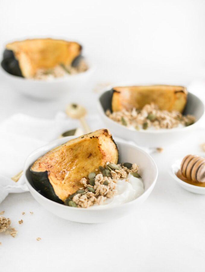Honey Roasted Acorn Squash Breakfast Bowls