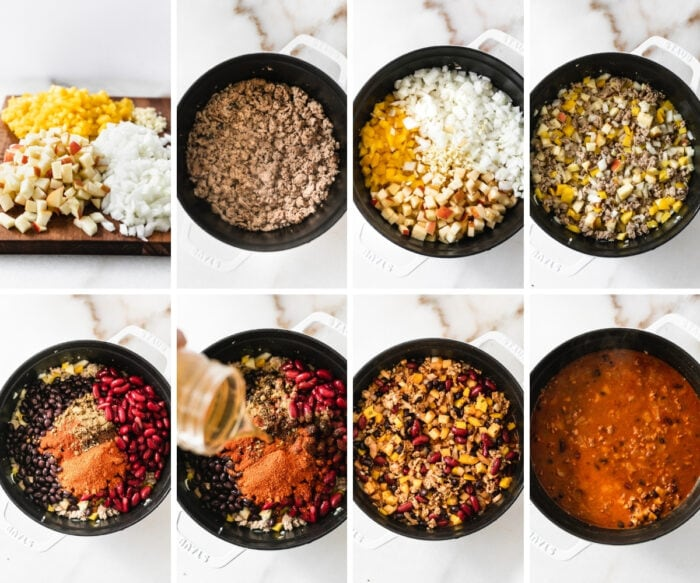 8 image collage showing steps for making chipotle apple turkey chili in a white pot.