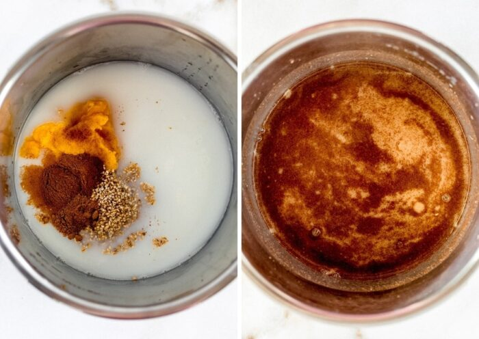 side by side images of overhead view of instant pot with ingredients to make pumpkin oatmeal, and the ingredients stirred together.