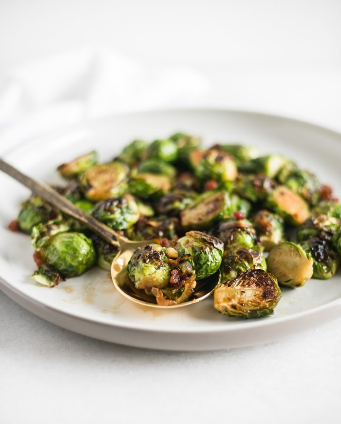 Bourbon Brown Sugar Roasted Brussels Sprouts with Bacon