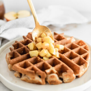 Healthy Caramel Apple Waffles