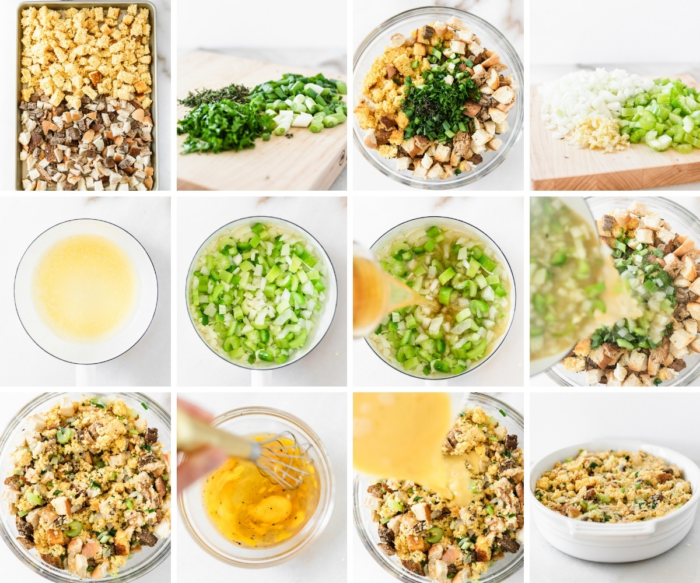 12 image collage showing steps for making cornbread stuffing.