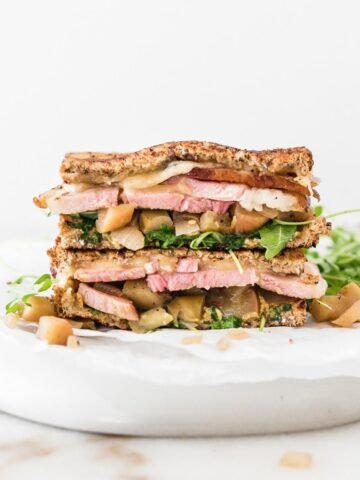 leftover ham and gouda sandwich with spicy apple chutney