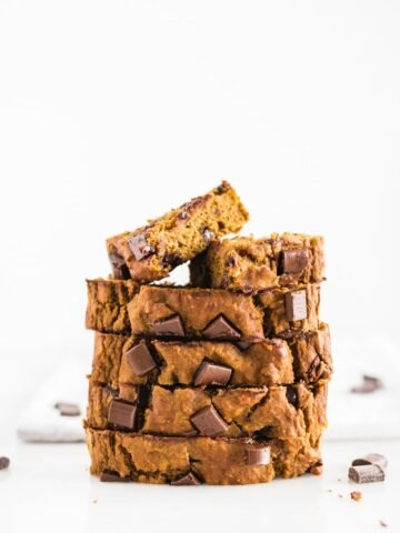 slices of chocolate chunk banana pumpkin bread stacked on top of each other.