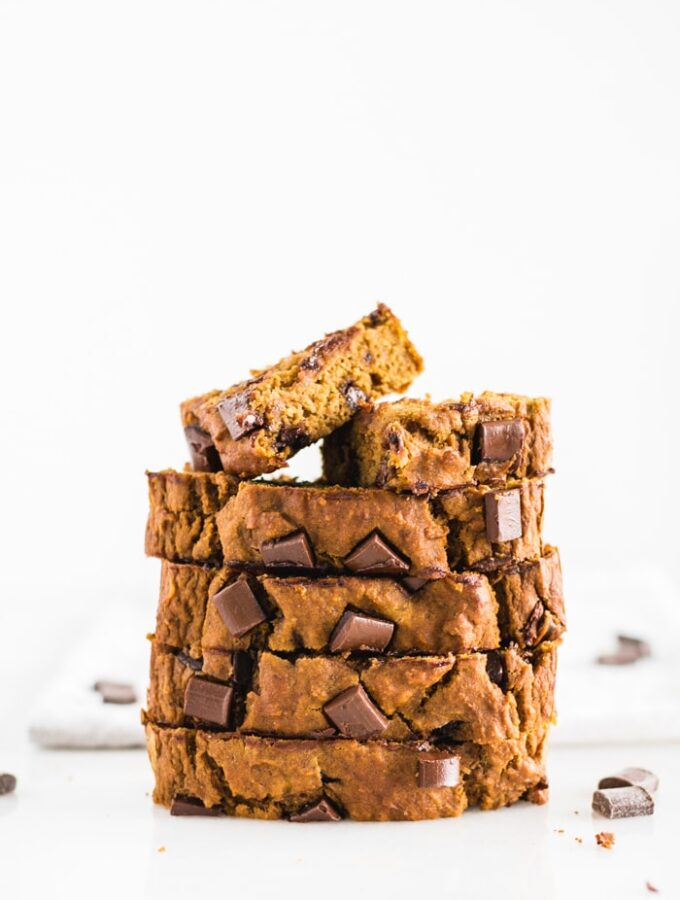 one-bowl healthy chocolate chunk banana pumpkin bread