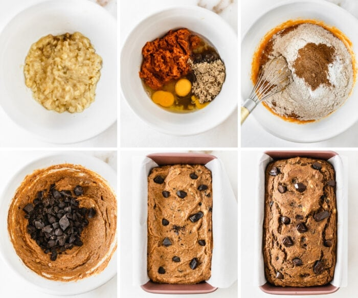 six image collage showing steps for making chocolate chunk banana pumpkin bread.