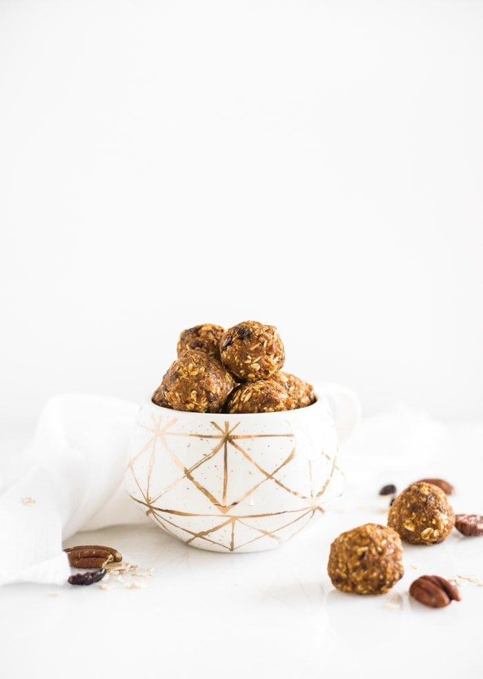 healthy pumpkin protein balls with pecans and cranberries