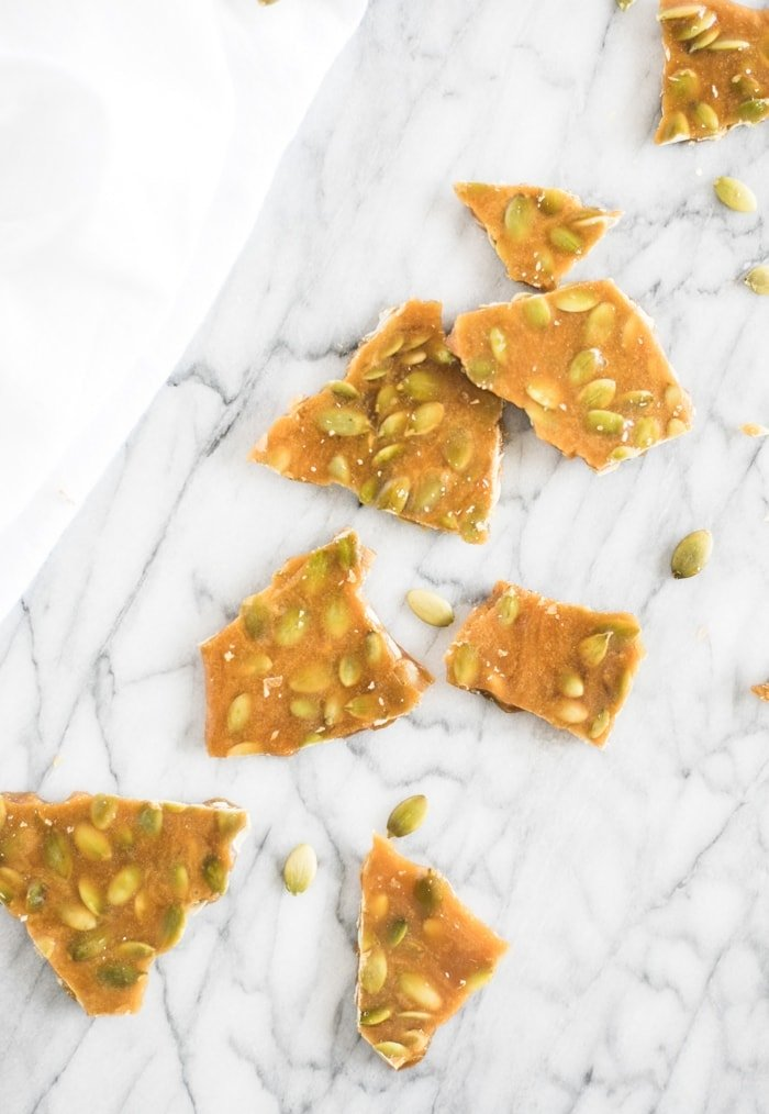 maple bourbon pumpkin seed brittle no corn syrup