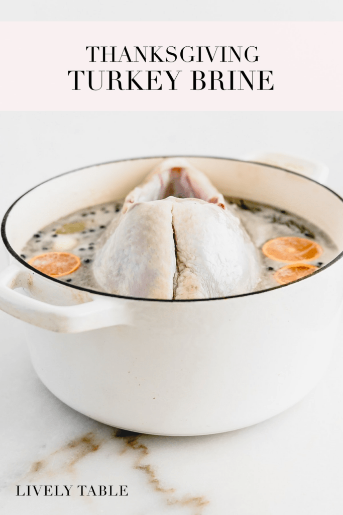 pinterest image with text for thanksgiving turkey brine.