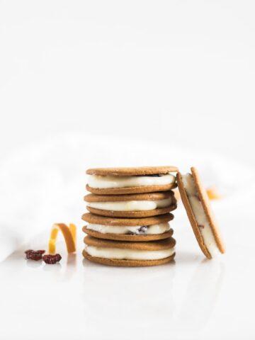 cranberry orange cream cheese gingersnap sandwich cookies