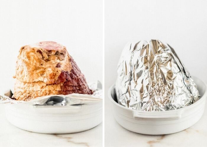 side by side images of a spiral ham cut side down in a baking dish, and the ham wrapped in foil in the baking dish.