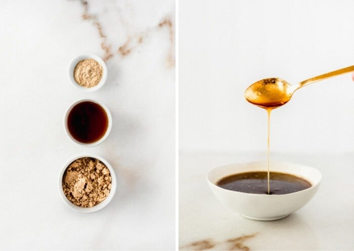 side by side images showing ingredients for a maple brown sugar ham glaze and the prepared glaze with a spoon being lifted out of the bowl of glaze.