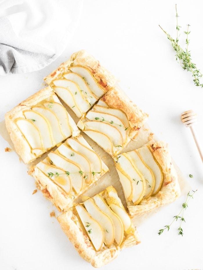 Pear Gruyere Puff Pastry Tart