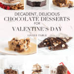 No Valentine's Day is complete without chocolate! Celebrate the day of love with you significant other, your girlfriends, your kids, or yourself with these decadent, delicious chocolate desserts for Valentine's Day! #chocolate #dessert #valentine #valentinesday #cookies #sheetcake #macaroons #brownies #peanutbuttercup