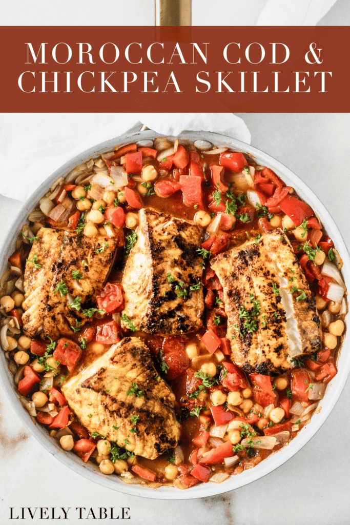overhead view of moroccan cod and chickpea skillet with text overlay.