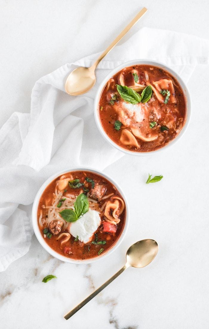 easy tortellini lasagna soup