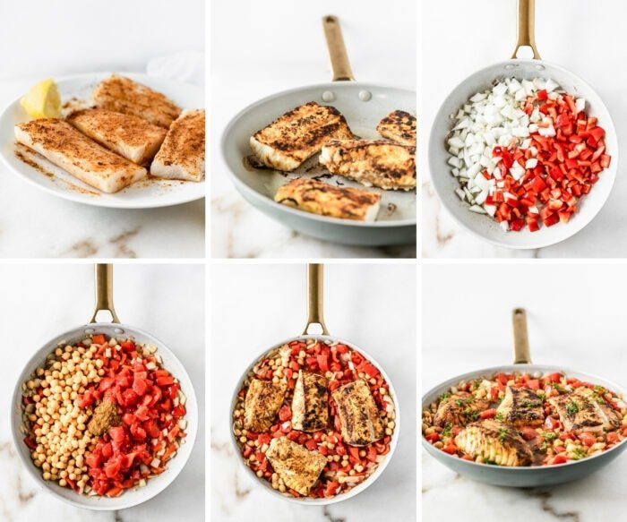 six image collage showing steps for making a moroccan cod and chickpea skillet dinner.