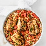 cod with moroccan stewed chickpeas and tomatoes