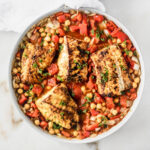overhead view of moroccan cod and chickpea skillet.