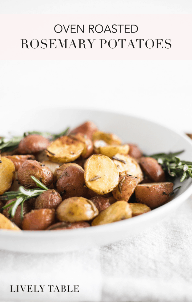 Simple oven roasted rosemary potatoes with crispy outsides and fluffy, tender insides are a delicious, easy side dish to go with any dinner! (#glutenfree, #dairyfree, #nutfree) #potatoes #sidedish #easy #healthy #recipes #rosemary